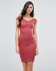 Lipstick Boutique Bardot Pencil Dress Berry Red