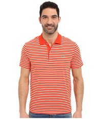 Lacoste Classic Short Sleeve Jersey Stripe Etna Red Flour Men's Clothing Orange