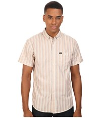 Brixton Howl Short Sleeve Woven Cream Taupe Men's Short Sleeve Button Up Khaki