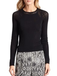 Parker Messina Open Knit Paneled Sweater Black