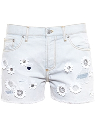 Msgm Denim Shorts With Floral Embroidery Blue