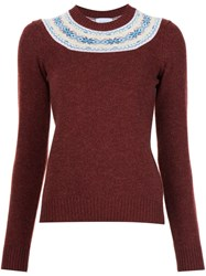 Barrie Fair Isle Detail Jumper Red