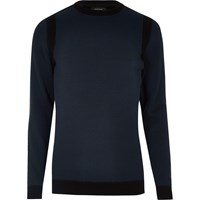 River Island Mens Navy Blue Crew Neck Jumper