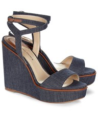 Paul Andrew Indigo Denim Laura Wedge Sandals Blue