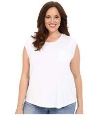 Calvin Klein Plus Plus Size T Shirt W One Pocket White Women's Short Sleeve Pullover