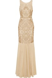 Badgley Mischka Embellished Tulle Gown Nude