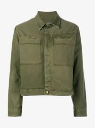 Current Elliott Cotton Blend Cargo Jacket Green Black