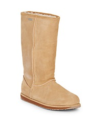 Emu Paterson Shearling Lined Suede Tall Boots Chestnut