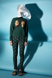 Opening Ceremony And Magritte Double Reality Skinny Jeans Dark Green Multi