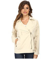 Michael Stars Cotton Twill L S Moto Trench Jacket Painter White Women's Coat Navy
