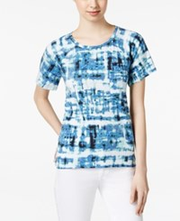 Calvin Klein Jeans Printed Short Sleeve Top Deep Denim