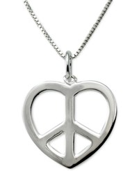 Macy's Heart Peace Sign Pendant Necklace In Sterling Silver