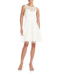 Tommy Hilfiger Embroidered Floral Lace Dress Ivory