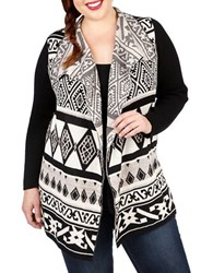 Lucky Brand Plus Plus Geometric Drape Cardigan Black