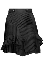 Isabel Marant Shauna Ruffled Plisse Silk Chiffon Mini Skirt Black