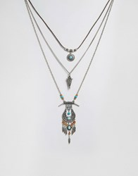 Glamorous Stone And Tassel Layering Necklaces Silver