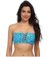 Mikoh Swimwear Sunset Skinny String Triple Looped Bandeau Reef Women's Swimwear Multi
