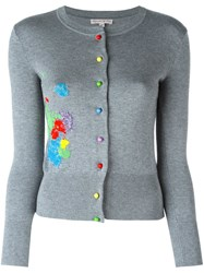 Olympia Le Tan Beaded Paint Splatter Cardigan Grey