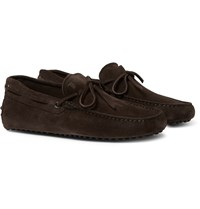 Tod's Gommino Suede Driving Shoes Chocolate