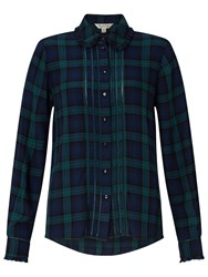 Miss Selfridge Check Pintuck Shirt Green