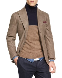 Brunello Cucinelli Flannel Two Button Blazer Brown
