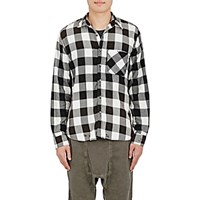 Nsf Men's Distressed Checked Shirt Black Blue Black Blue