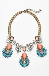 Women's Robert Rose Multi Stone Necklace Coral Brass Ox
