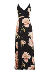 Topshop Cut Out Floral Midi Dress Black