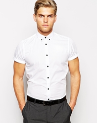 Smart Shirt In Short Sleeve With Button Down Collar And Contrast Buttons White