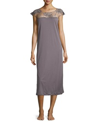 Hanro Savona Guipure Lace Cap Sleeve Gown Sparrow