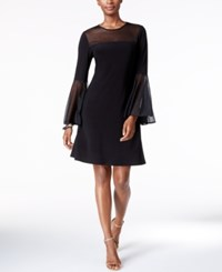 Msk Bell Sleeve Illusion A Line Dress Black