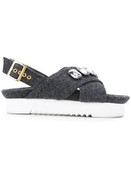 Muveil Crossover Strap Sandals Grey
