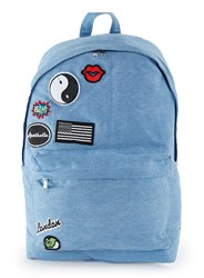 Topman Blue Denim Badged Backpack