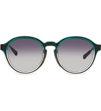 Kris Van Assche Kva79 Curved Keyhole Sunglasses Green And Clear
