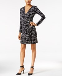 Calvin Klein Printed Faux Wrap Dress Black White