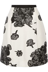 Tanya Taylor Ella Faille Trimmed Fil Coupe Skirt White