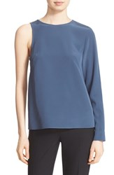 Tibi Women's One Sleeve Silk Blouse Biscay Navy