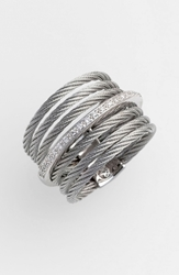 Alor 7 Row Cable And Diamond Ring Grey