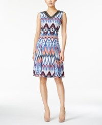 Jm Collection Sleeveless Printed Dress Only At Macy's Blue Jewel
