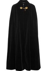 Saint Laurent Embellished Cotton Velvet Cape Black