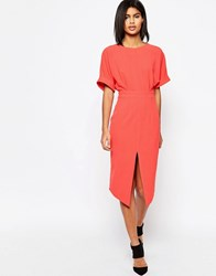 Asos Wiggle Dress With Split Front Coral Pink