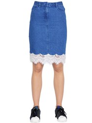 Steve J And Yoni P Cotton Denim Skirt W Lace Trim