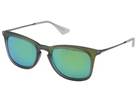 Ray Ban Rb4221 50Mm Green Rubberized Green Mirror Fashion Sunglasses Blue