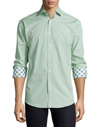 Neiman Marcus Classic Fit Striped Sport Shirt Green