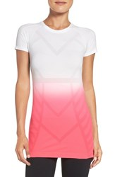 Climawear Women's Power Up Dip Dye Tee Bright Coral Dip Dye White