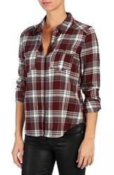 Paige Women's 'Mya' Plaid Shirt Deep Syrah Grey White