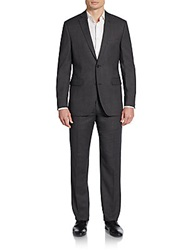 Saks Fifth Avenue Red Trim Fit Wool Suit Charcoal