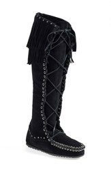 Women's Rebecca Minkoffxminnetonka Fringe Lace Up Knee High Boot