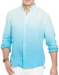 Polo Big And Tall Ombre Linen Shirt Blue