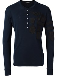 Dsquared2 Logo Patch Henley Top Blue